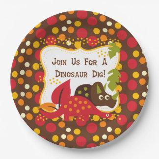 Retro Dinosaur Dig Birthday Paper Plate