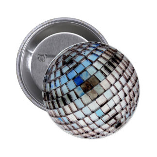 Retro Disco Ball Metal Mirror 2 Inch Round Button