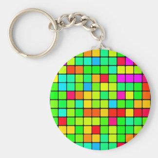 Retro Disco Colorful Squares Keychain