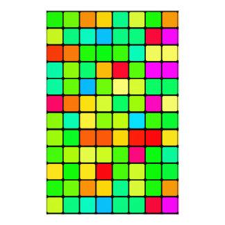 Retro Disco Colorful Squares Stationery
