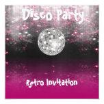 """Retro Disco Party invitation 5.25"""" Square Invitation Card"""