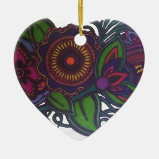 Retro, diseño floral del vintage adorno de cerámica en forma de corazón