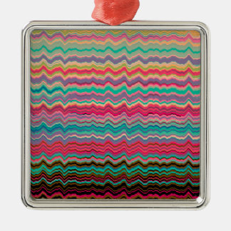 Retro distorted lines pattern metal ornament