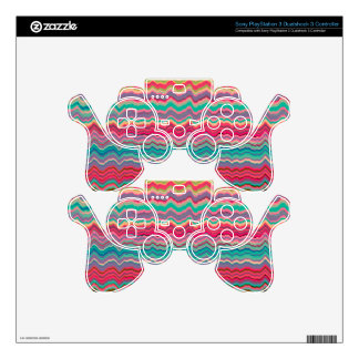 Retro distorted lines pattern PS3 controller decals