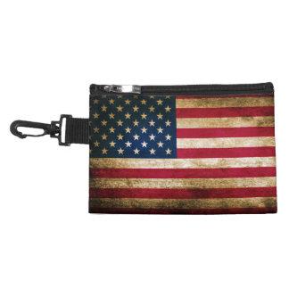 Retro Distressed American Flag Accessory Bag
