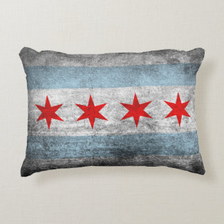 Retro Distressed Chicago Flag Accent Pillow