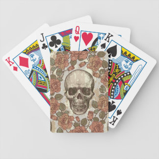 Retro distressed skull artwork. bicycle playing cards