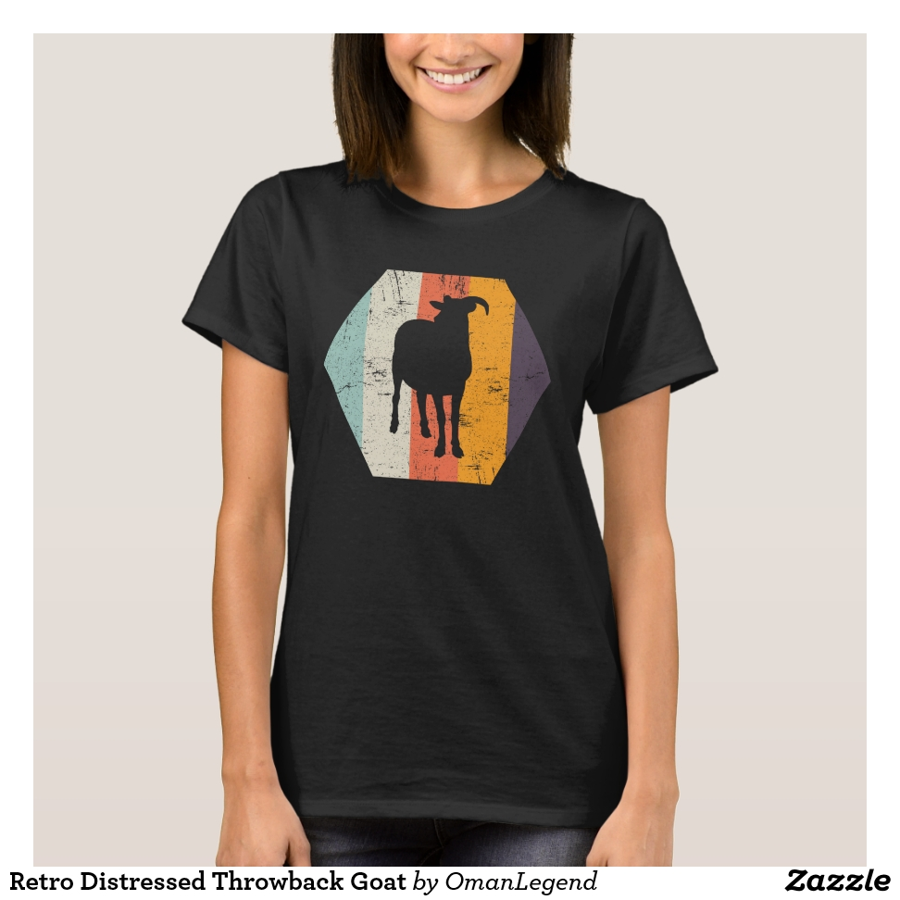 Retro Distressed Throwback Goat T-Shirt - Best Selling Long-Sleeve Street Fashion Shirt Designs