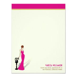 Retro Diva Custom Flat Note Cards (hot pink)