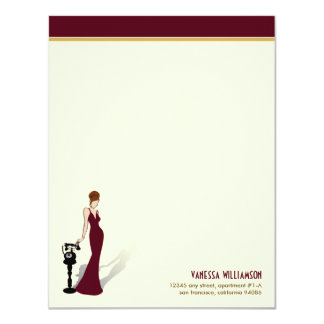 Retro Diva Custom Flat Note Cards (maroon)