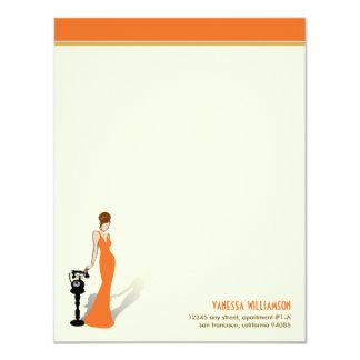 Retro Diva Custom Flat Note Cards (orange)