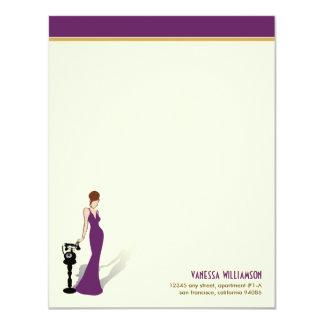 Retro Diva Custom Flat Note Cards (purple)