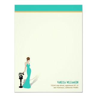 Retro Diva Custom Flat Note Cards (turquoise)