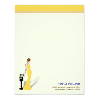 Retro Diva Custom Flat Note Cards (yellow)