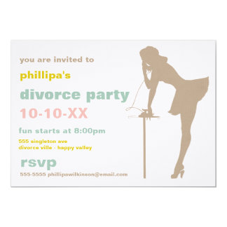 "Retro Divorce Party Invitations 5"" X 7"" Invitation Card"