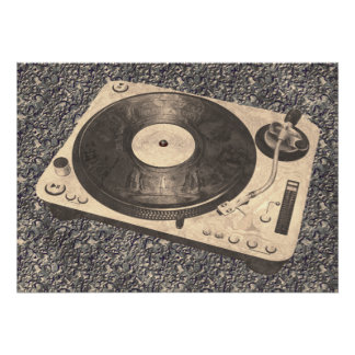 Retro DJ Turntable Grunge Look Poster