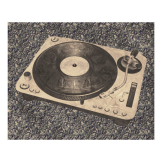 Retro DJ Turntable Grunge Poster