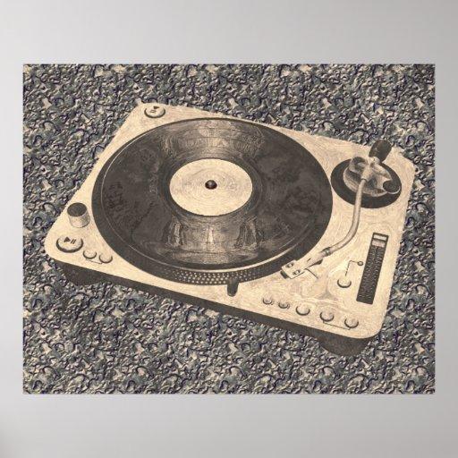 Retro DJ Turntable Grunge Print