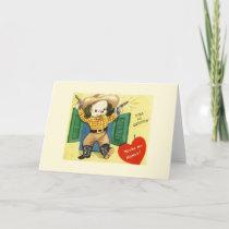 Retro Dog Cowboy Valentine's Day greeting card