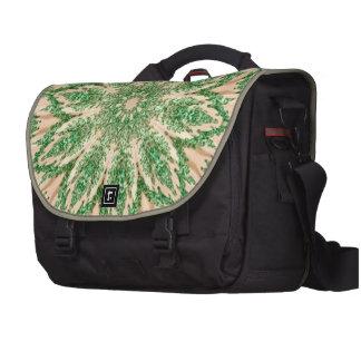Retro Doily Green Beige Kaleidoscope Laptop Computer Bag
