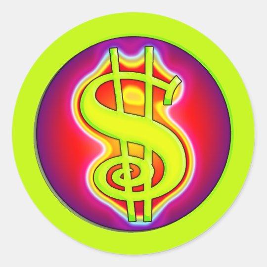 RETRO DOLLAR SIGN CLASSIC ROUND STICKER