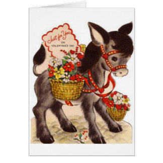 Retro Donkey With Flowers Valentine's Day Card