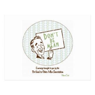 Retro 'Don't Be Mean' Postcard