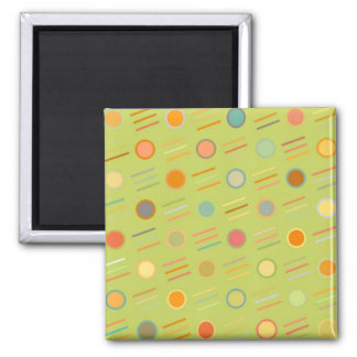 Retro Dots and Lines 2 Inch Square Magnet