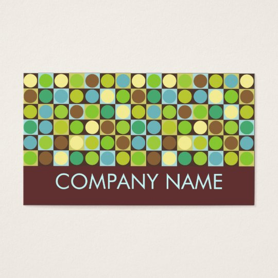 Retro dots and squares business card