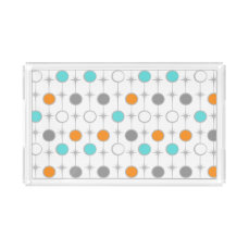 Retro Dots and Starbursts Acrylic Serving Tray
