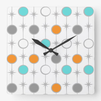Retro Dots and Starbursts Acrylic Wall Clock