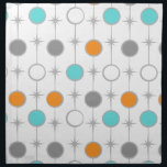 "Retro Dots and Starbursts Cloth Napkin<br><div class=""desc"">This customizable Retro Dots and Starbursts Cloth Napkin design features (Wait for it.) a grid of colorful dots and starbursts. The vintage inspired turquoise; white, grey, and orange dots are separated by kitschy grey starbursts to form a geometric pattern. Customize the background color on this mid century modern product if...</div>"