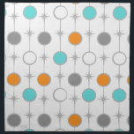 """Retro Dots and Starbursts Cloth Napkin<br><div class=""""desc"""">This customizable Retro Dots and Starbursts Cloth Napkin design features (Wait for it.) a grid of colorful dots and starbursts. The vintage inspired turquoise; white, grey, and orange dots are separated by kitschy grey starbursts to form a geometric pattern. Customize the background color on this mid century modern product if...</div>"""