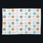 """Retro Dots and Starbursts Kitchen Towel<br><div class=""""desc"""">This customizable Retro Dots and Starbursts Kitchen Towel design features (Wait for it.) a grid of colorful dots and starbursts. The vintage inspired turquoise; white, grey, and orange dots are separated by kitschy grey starbursts to form a geometric pattern. Customize the background color on this mid century modern product if...</div>"""