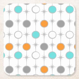 Retro Dots and Starbursts Paper Coaster Square Paper Coaster