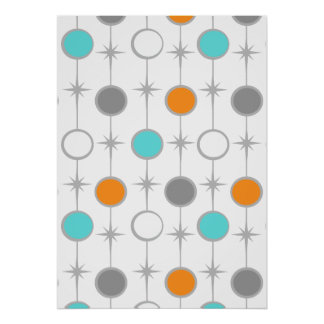 Retro Dots and Starbursts Poster