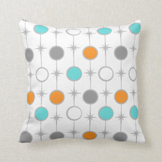 Retro Dots and Starbursts Throw Pillow
