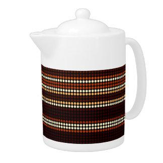Retro Dots Colorful Stripes Rainbow Teapot