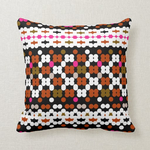 Retro Dots Obsession Pattern Throw Pillow