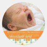 Retro Dots Orange • Baby Announcement Stickers