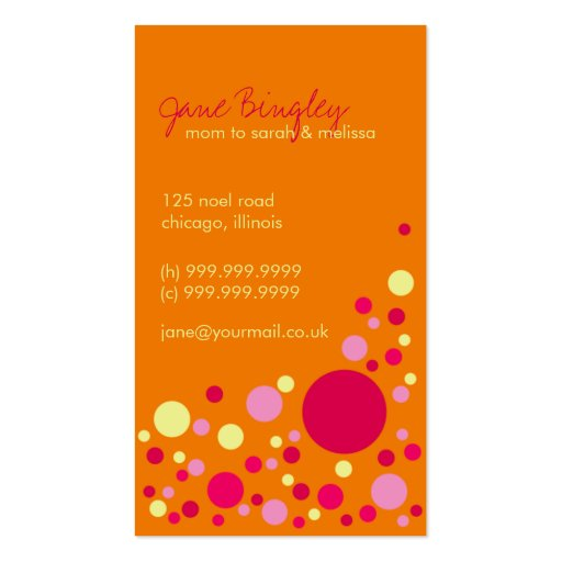 Quotretro dotsquot orange pink mommy business card zazzle for Mommy business cards