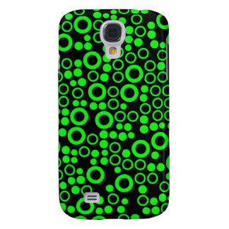 Retro Dots, Rings, Neon Green, Black iPhone 3 Case