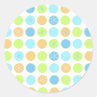 Retro Dots & Snowflakes Round Sticker
