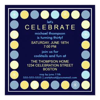 """Retro Dots & Stars Birthday Party Invitation 5.25"""" Square Invitation Card"""