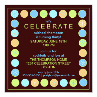 Retro Dots & Stars Birthday Party Invitation