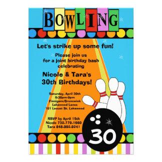 Retro Dots & Stripes Birthday Bowling Party Invite