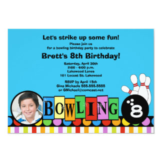 Retro Dots & Stripes Birthday Bowling Party Invite