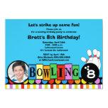 "Retro Dots & Stripes Birthday Bowling Party Invite 5"" X 7"" Invitation Card"