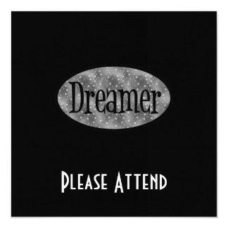 Retro Dreamer Star Logo - B&W 5.25x5.25 Square Paper Invitation Card