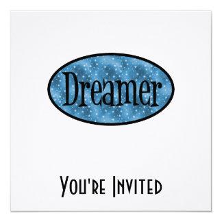 Retro Dreamer Star Logo - Blue 5.25x5.25 Square Paper Invitation Card